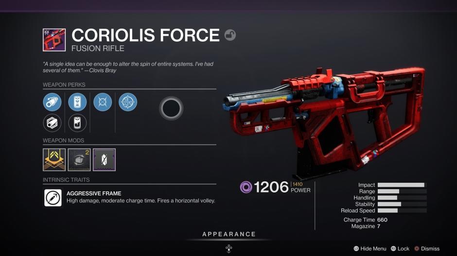 Coriolis Force Destiny 2 God Roll